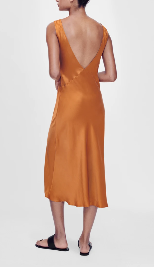 Bordeaux Caramel Silk Slip Dress