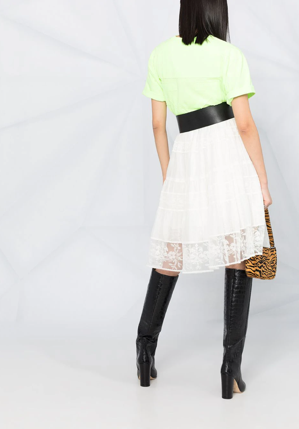 Floral-Lace Patterned A-Line Midi Skirt