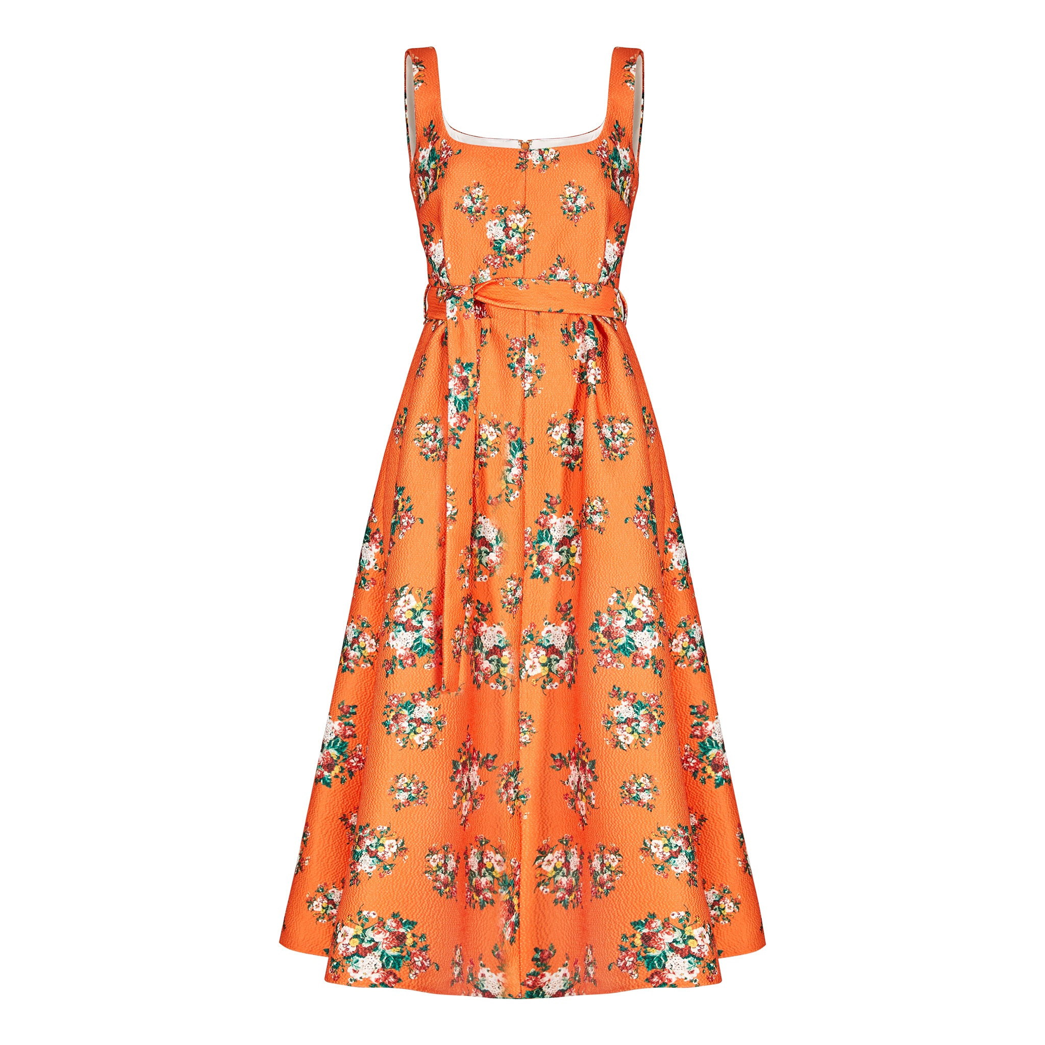 orange floral printed sleeveless dress