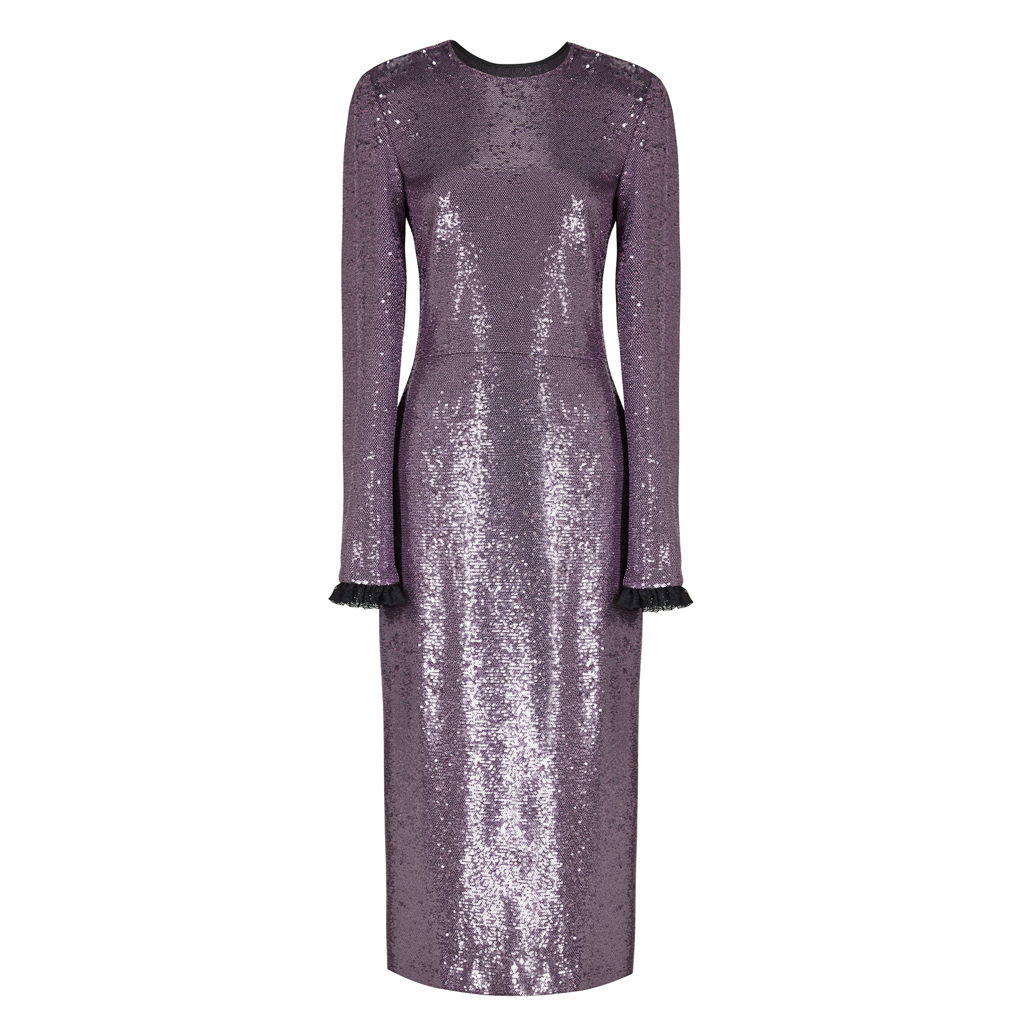 Purple Sequinned Open Back Midi Dress