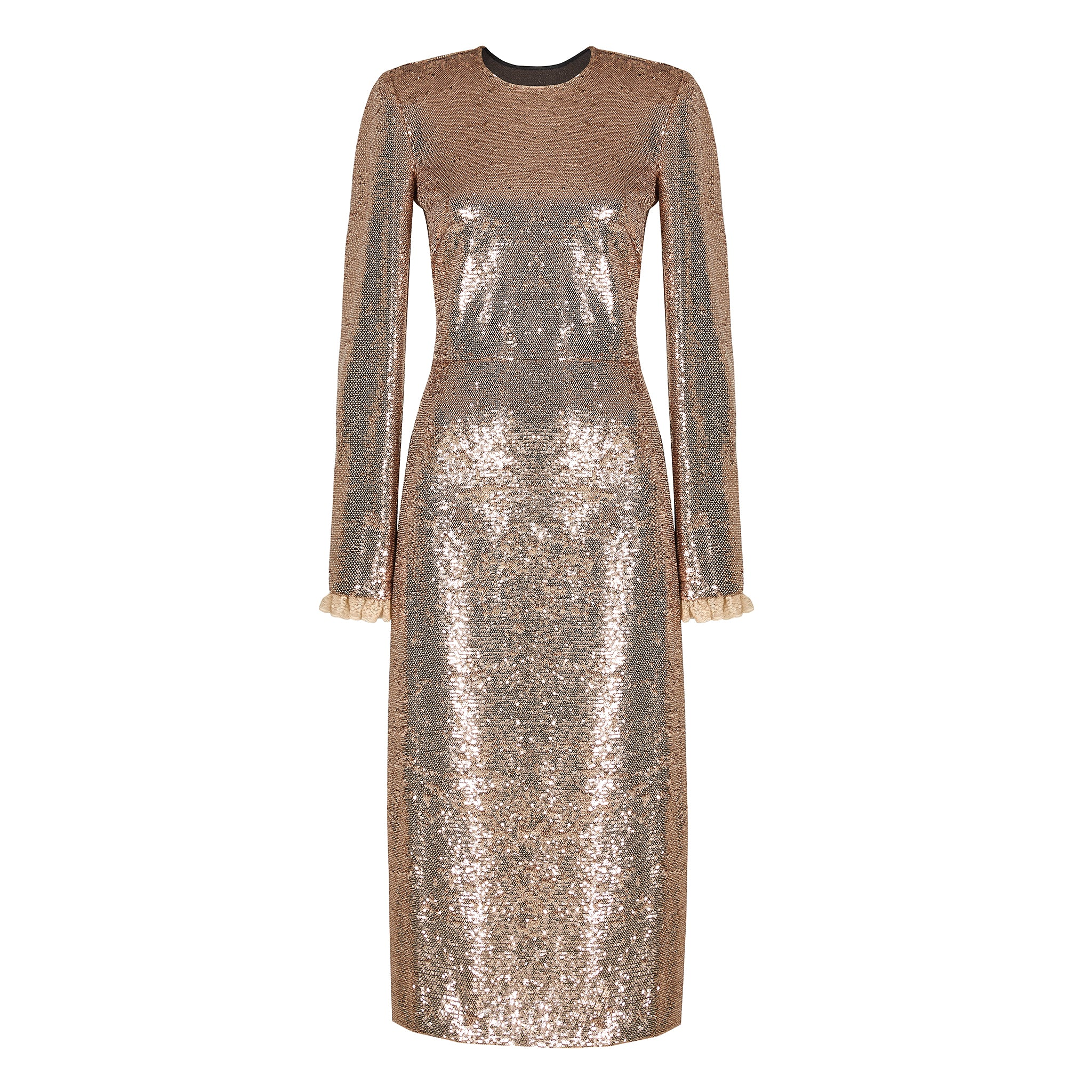 Gold Sequinned Open Back Midi Dress