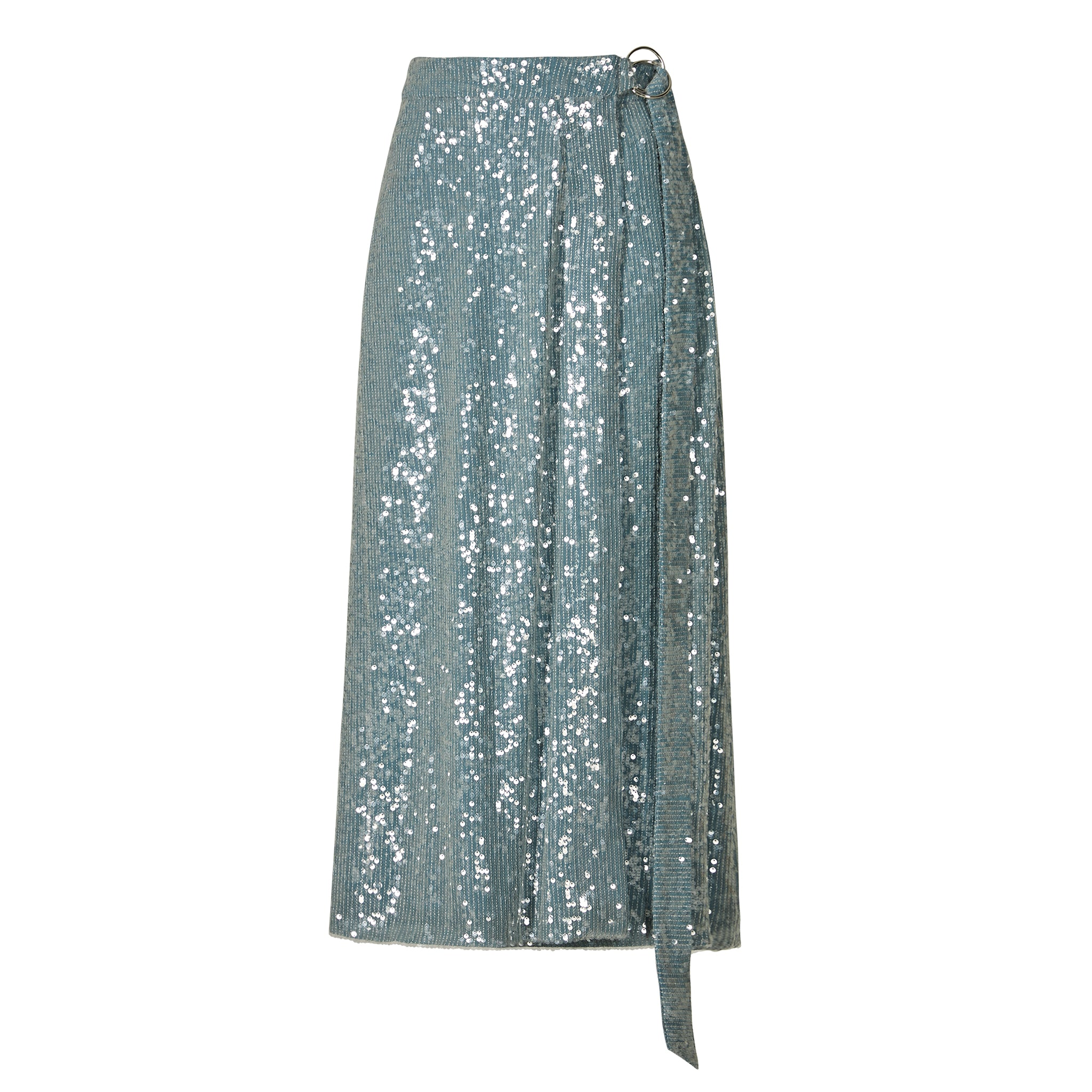 Blue Sequinned Midi Skirt