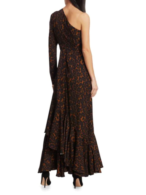Doriana One Shoulder Leopard Dress