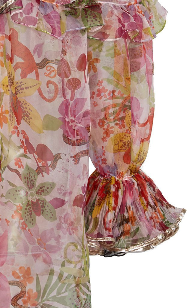 Floral Printed Off-the-Shoulder Organza Top