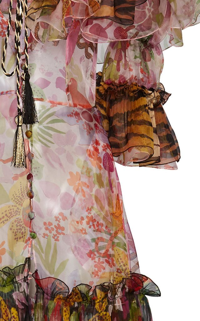 Flower and Tiger Stripe Silk Maxi Dress