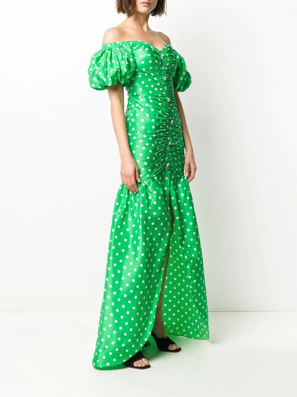 Long Off-The-Shoulder Polka Dot Taffetta Dress