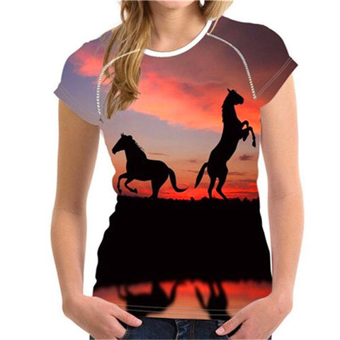 T-Shirt Cheval <br> Silhouettes (Femme)
