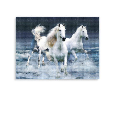 Broderie Diamants <br> Chevaux Gris