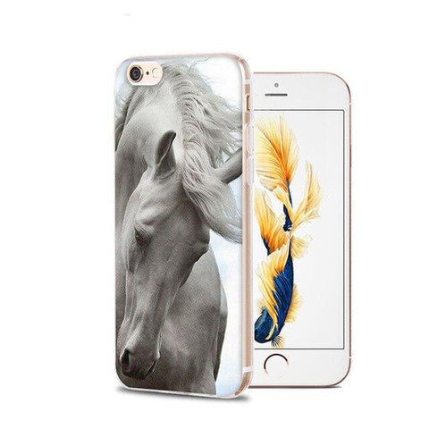 Coque iPhone Cheval<br> Style Blanc
