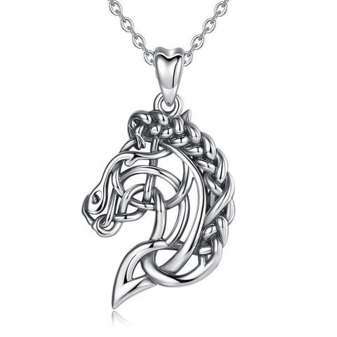 Collier Cheval<br> Pendentif Cheval Abstrait (Argent)