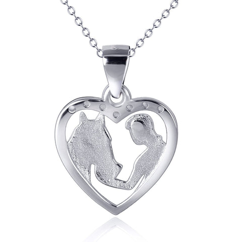 Collier Cheval<br> Tendresse & Coeur (Argent)