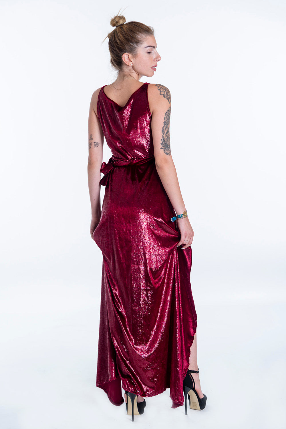 Pixie asymmetric wrap front maxi dress with plunge