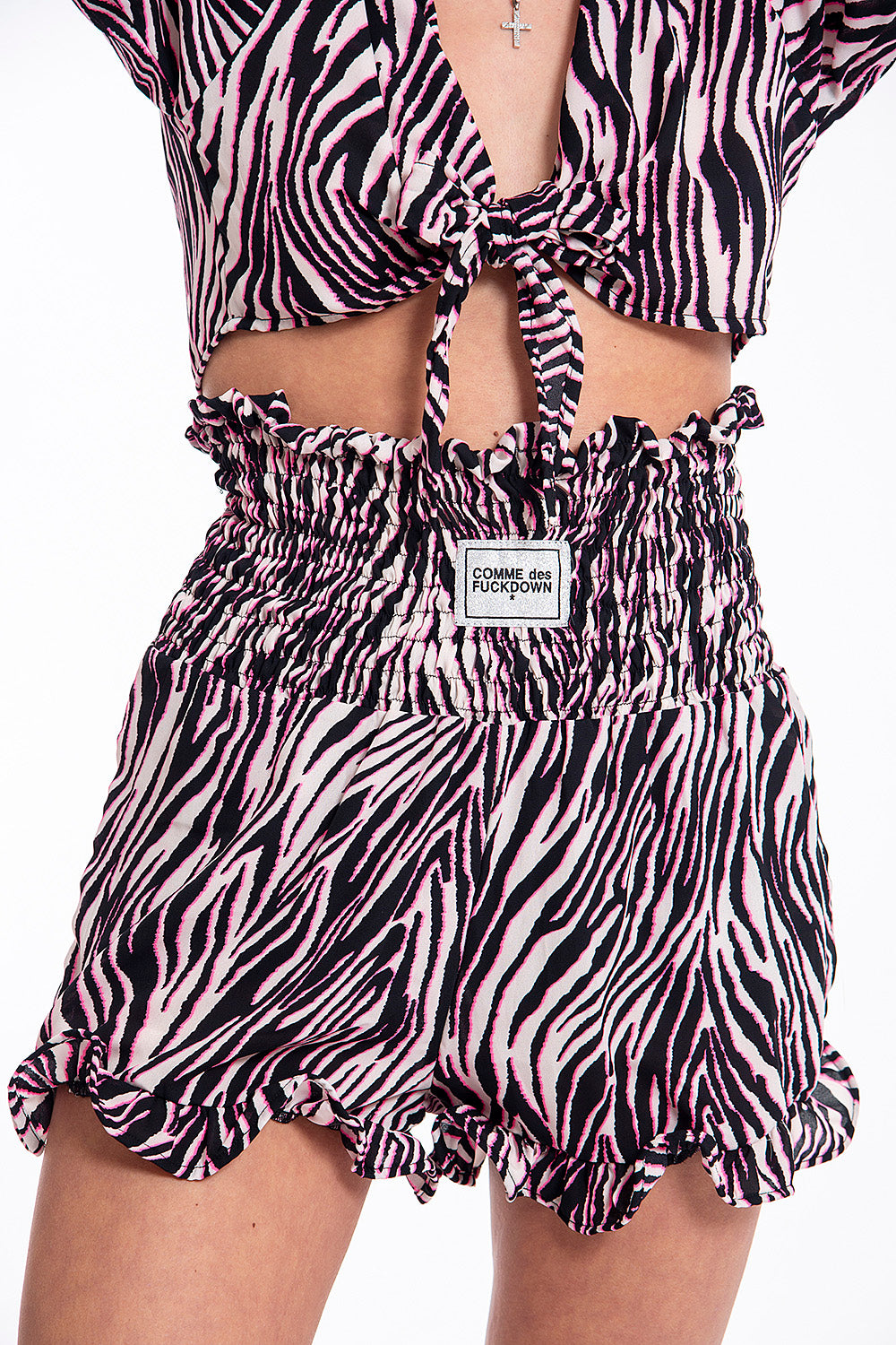Comme des Fuckdown pink zebra shorts with elasticated waist