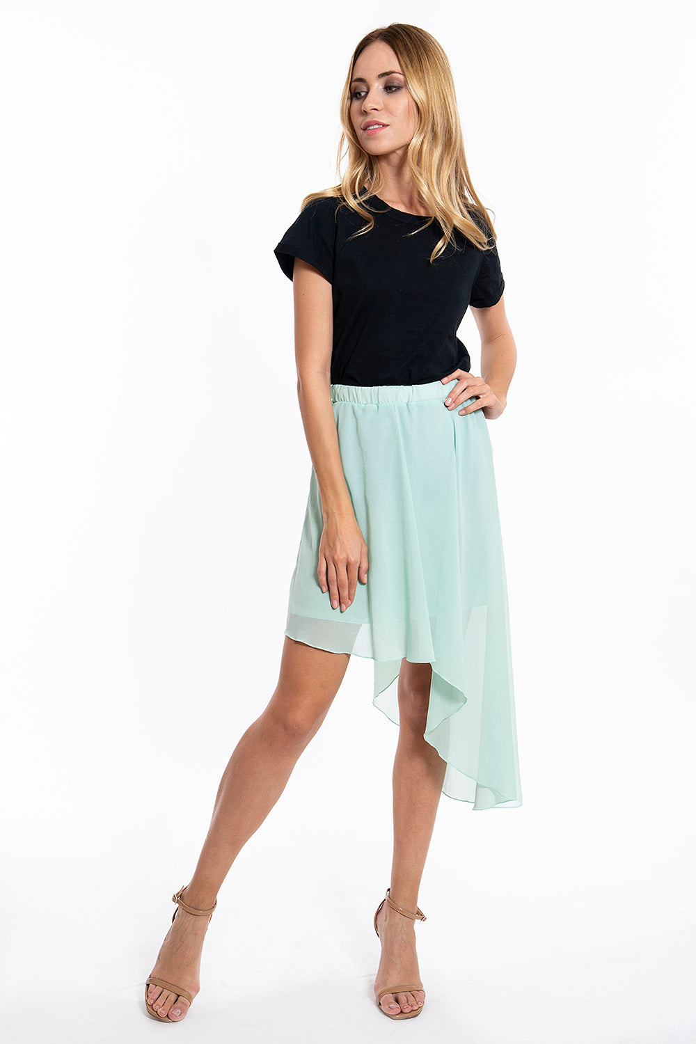 Akè cute mint extreme asymmetrical skirt