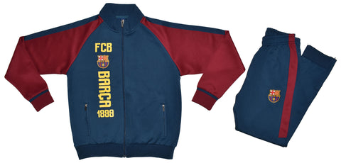 FC Barcelona logo joggers with horizontal logo and burgundy sleeves