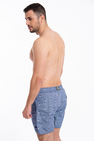 David vespa pattern mid swim shorts