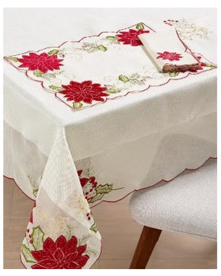 Homewear Holiday Collection oblong table cloth with poinsettia designs