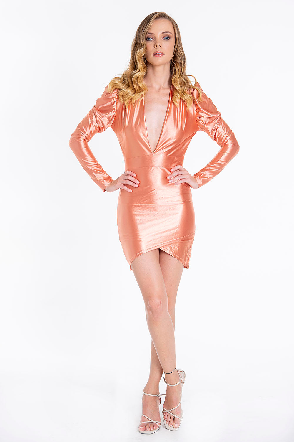 Metallic plunged mini dress with puff sleeves