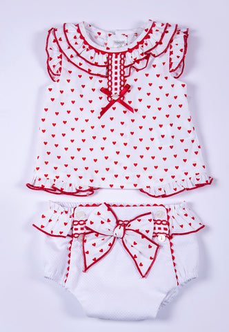 Dolce Petit 2 pieces set heart polka top and  bow jam pant
