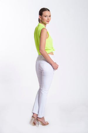 Basic ribbed skinny white jeans