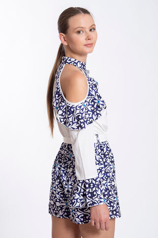Parisian oriental blue elegant patterned playsuit