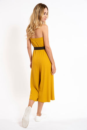 L.A. Dolls ribbed strapless jumpsuit with patterned boho belt
