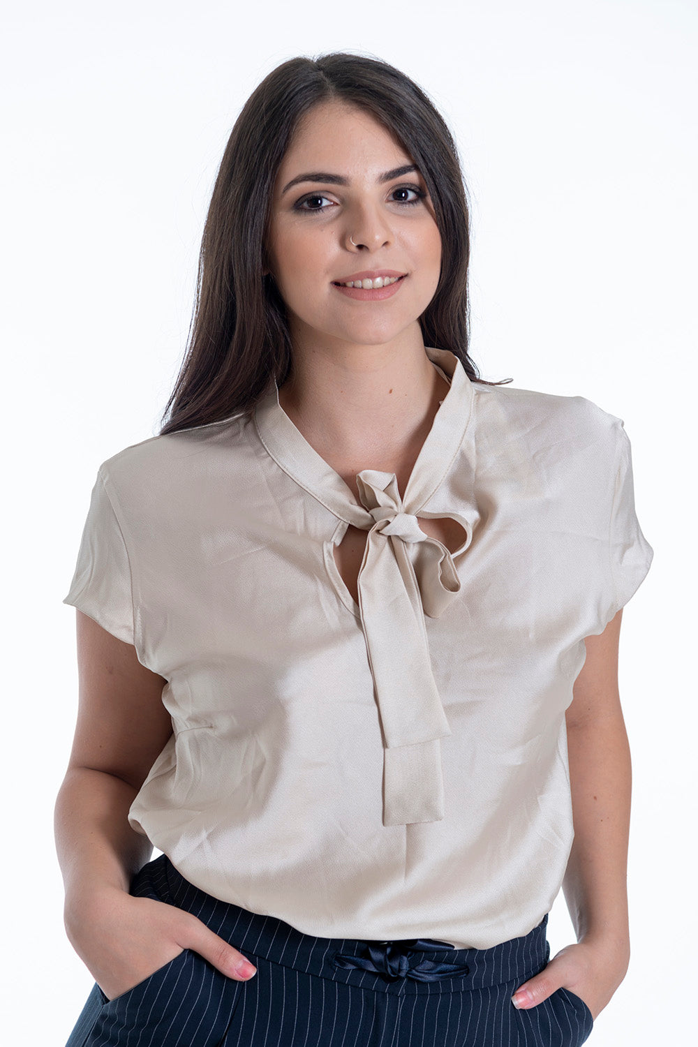 Silky top with tie neck