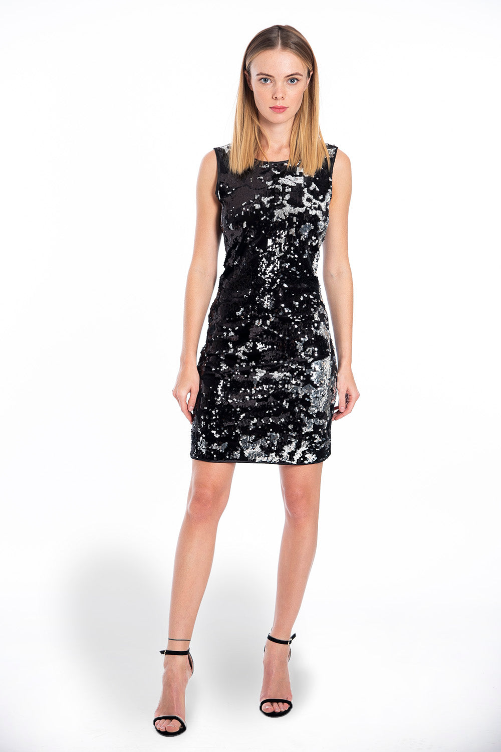 Rinascimento black and silver mini sequin dress with open back