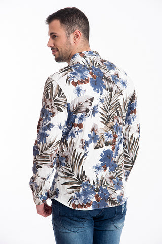 Paolo di Matteo cotton floral shirt in blue floral