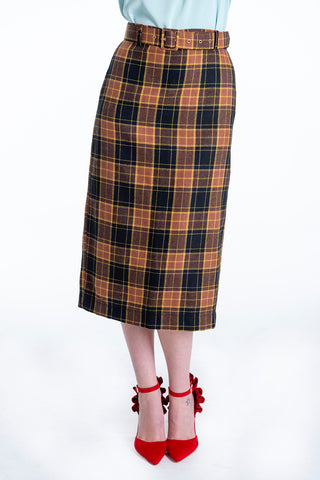 Milkwhite high waist check midi skirt with belt