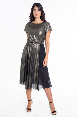 Relish gold midi pleated dress with see chiffon see through panel