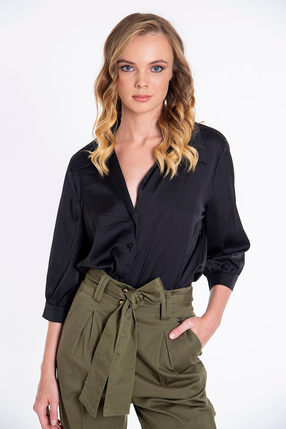 Tensione in silky shirt with collar
