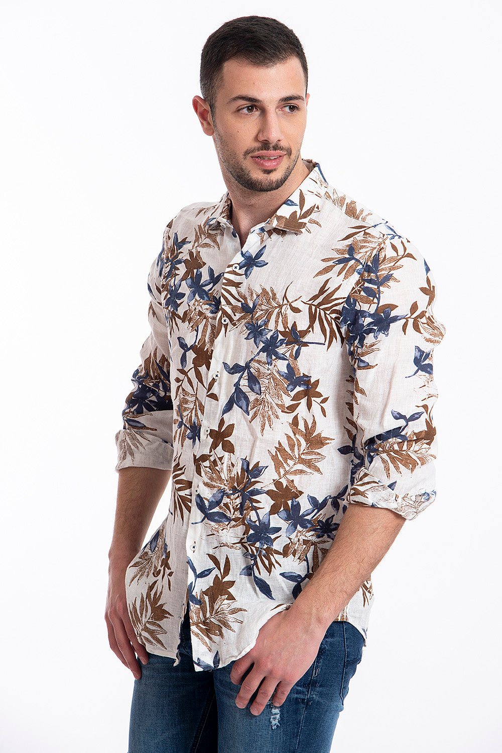 Paolo di Matteo linen floral shirt in blue floral