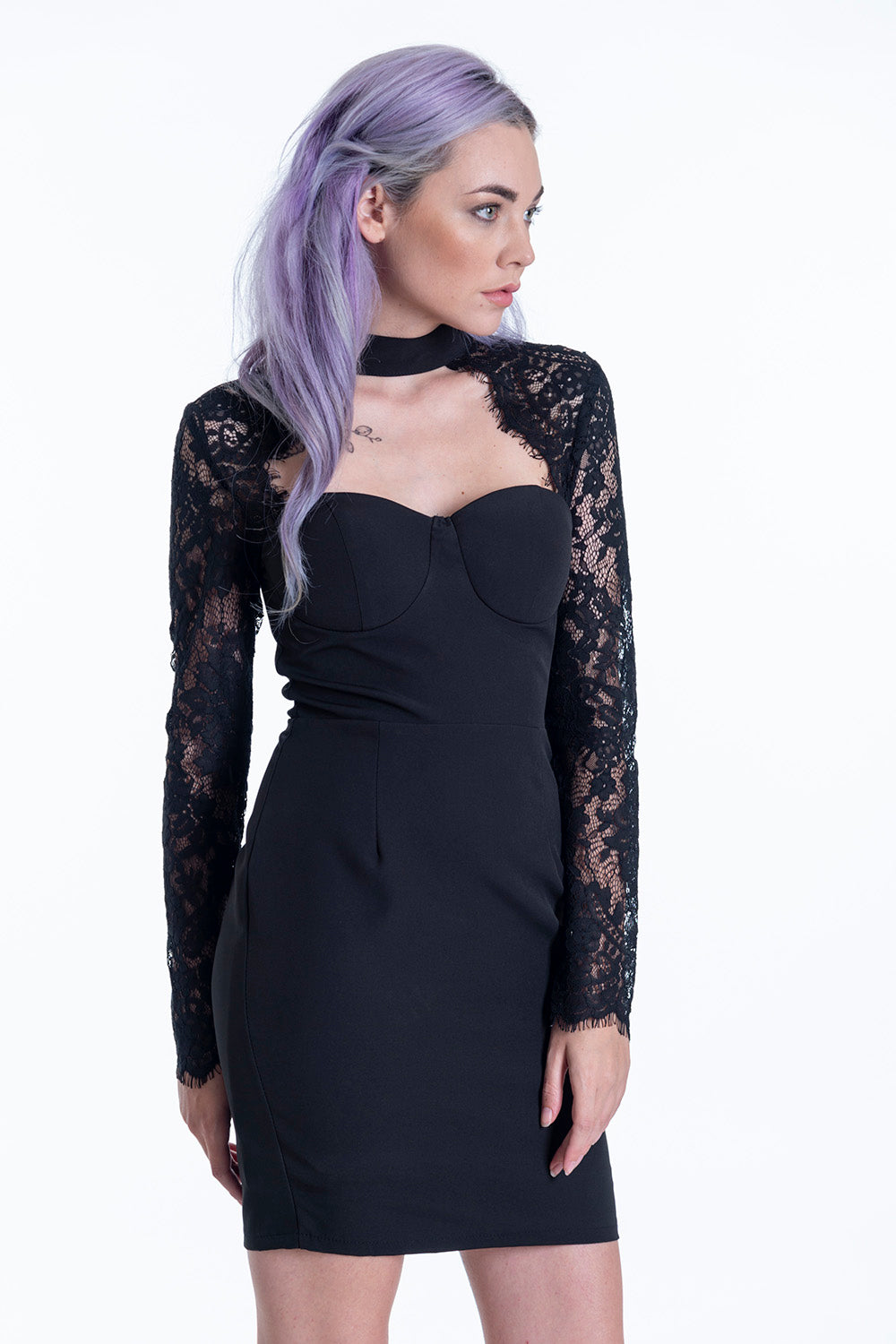 High neck mini dress with chest cut and lace details