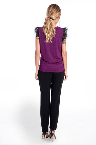 Patrizia Segreti feather sleeveless statement top