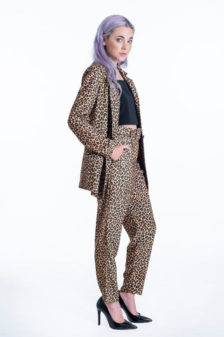 Milkwhite high waist animal print trousers with belt