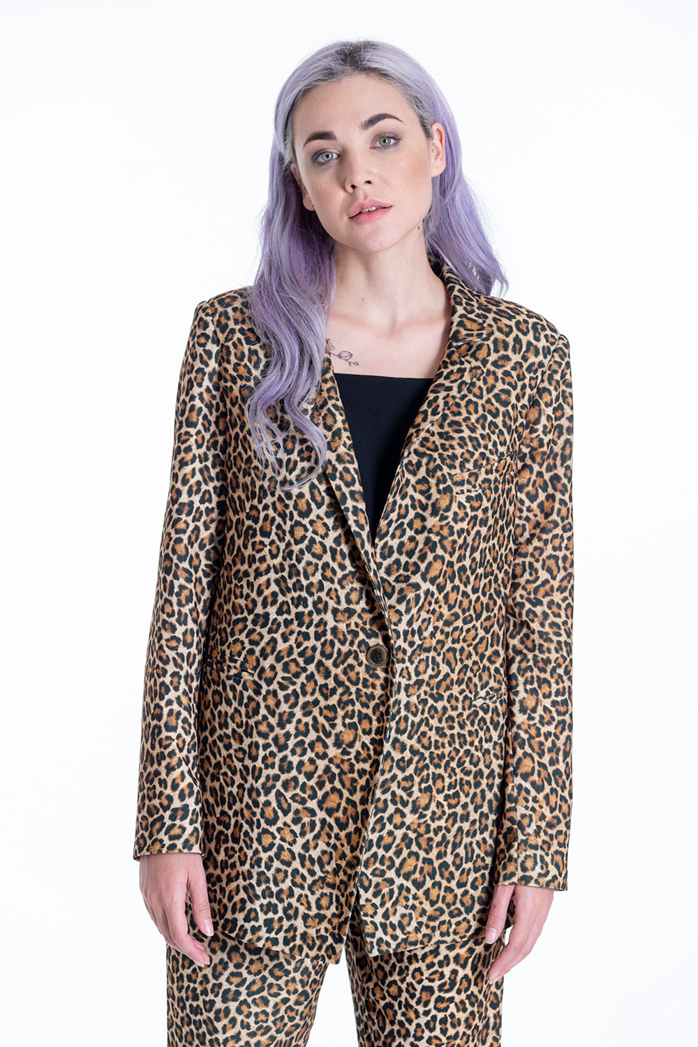 Milkwhite  animal print blazer with padded shoulders