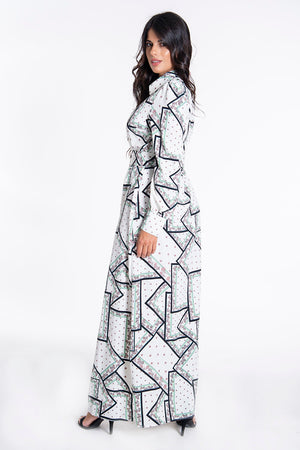 Glamorous geometric and other patterns maxi shirt dress