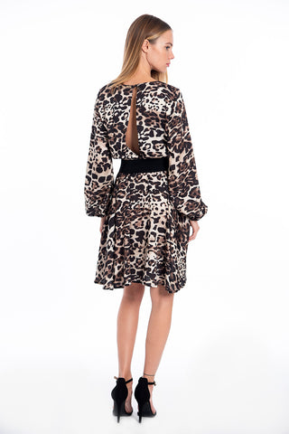 Akè animal print dress with waistband