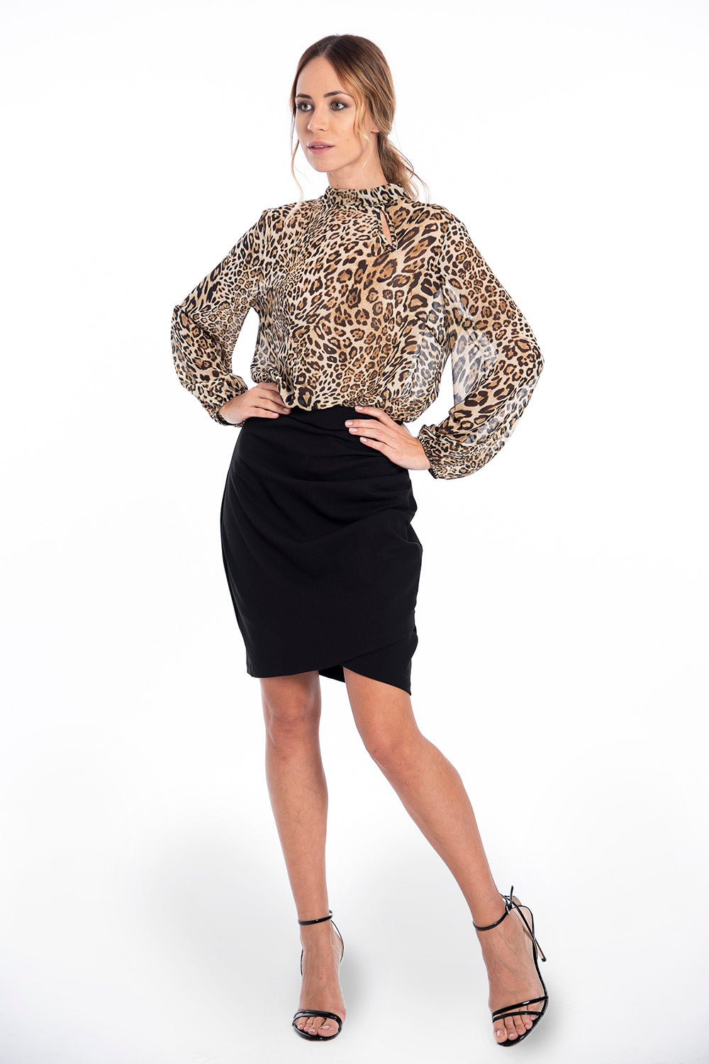 Rinascimento midi dress with animal print and black ruffle skirt