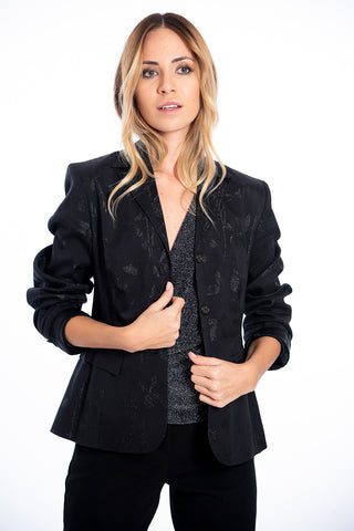 Double collar blazer with metallic details
