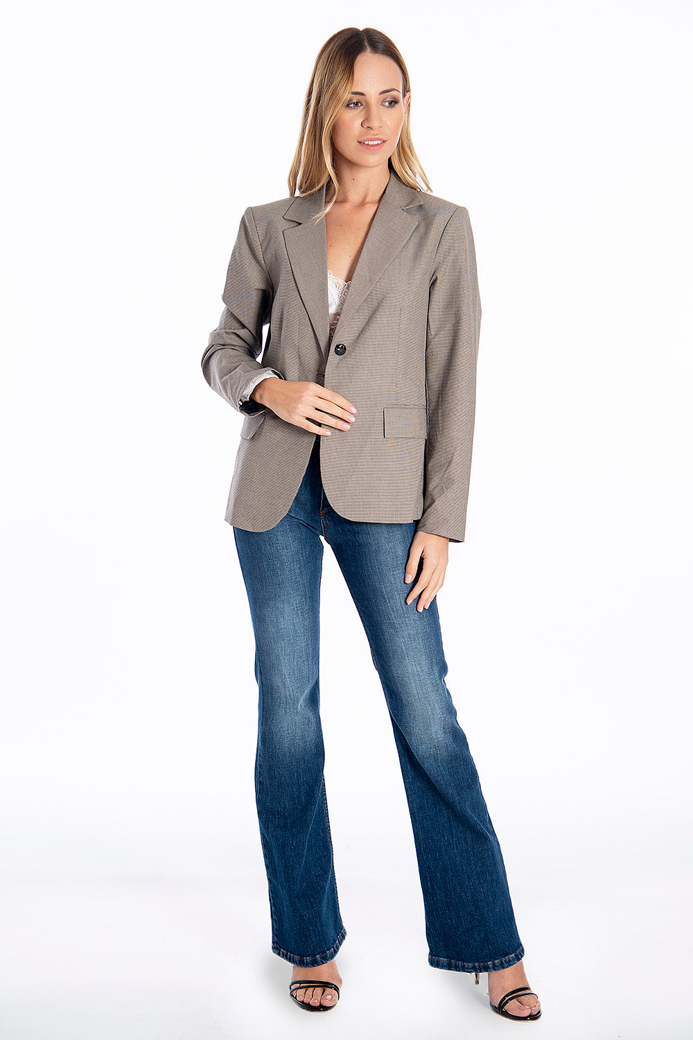 NúNu clear blazer in check with inner lining