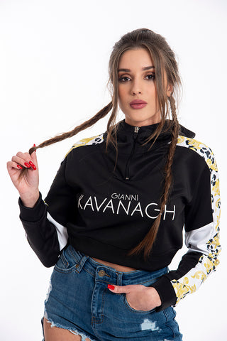Kavanagh printed long sleeves cropped top with front zip