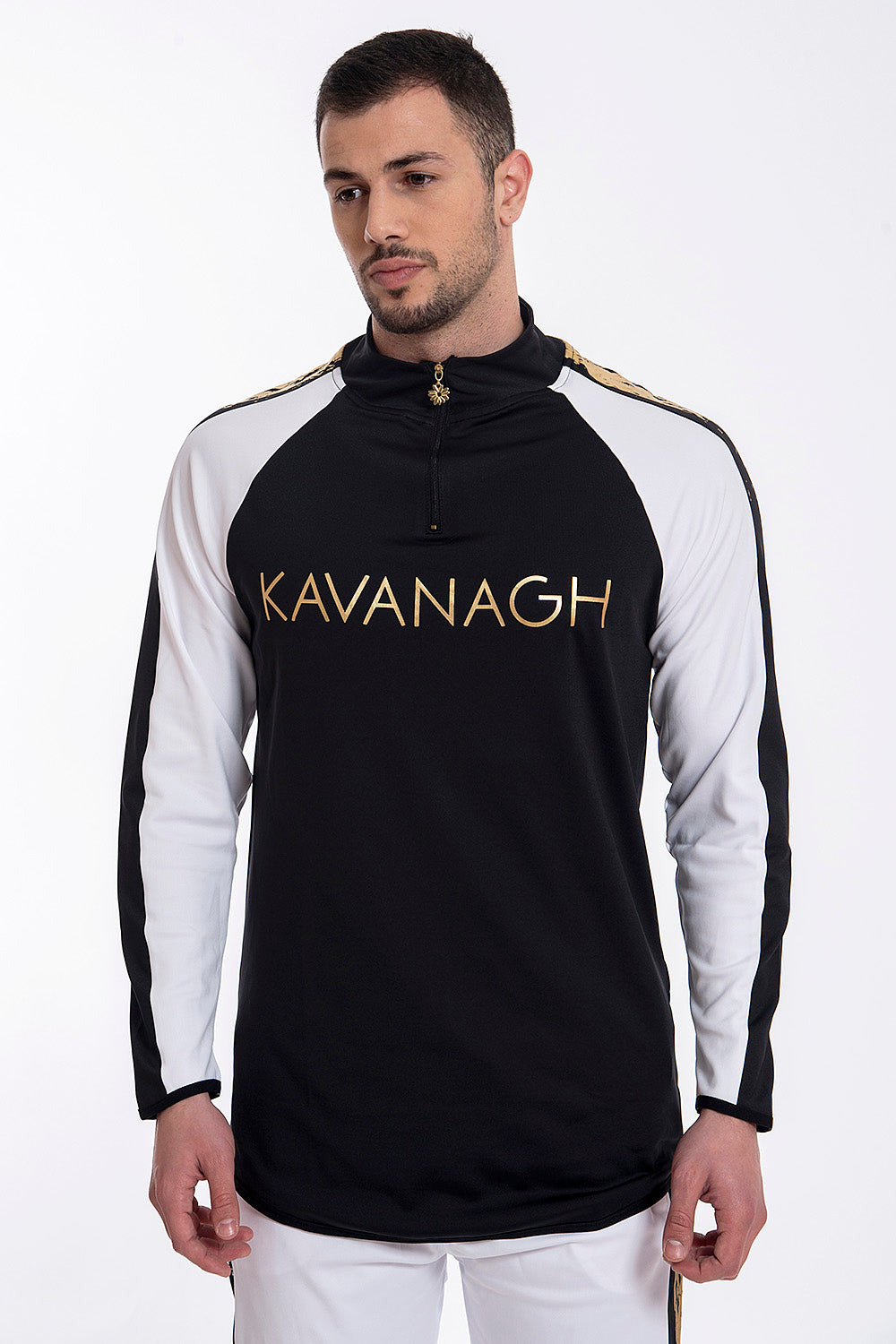Kavanagh elasticated long sleeves top with front zip