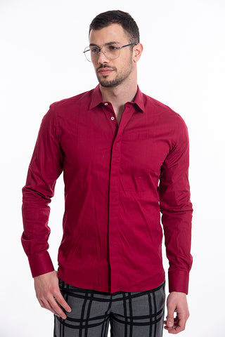 Gianni Lupo slim fit burgundy shirt