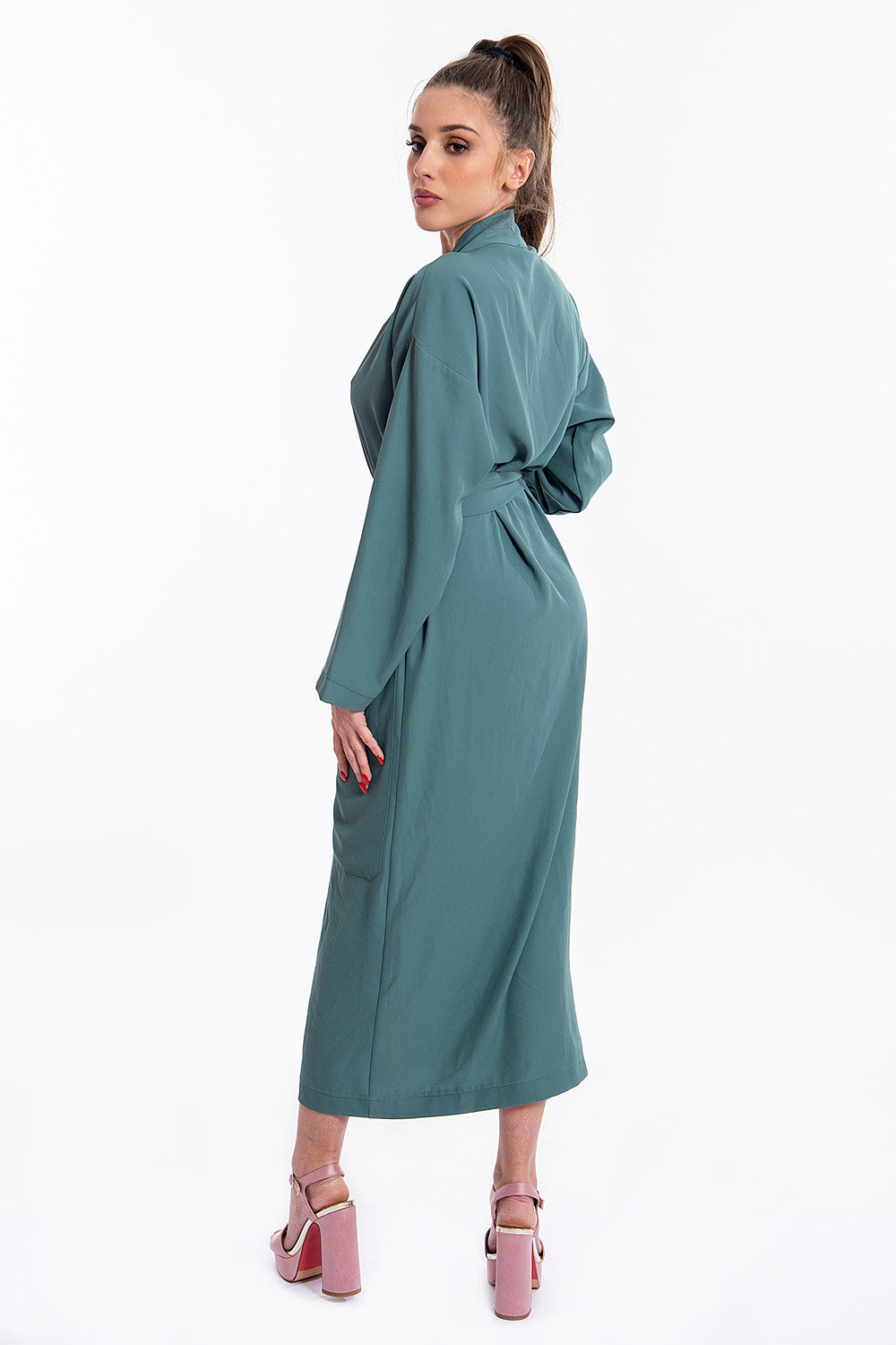 Tensione midi robe dress with waist belt