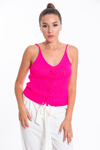 Akè knit top in fuchsia with patterned knit lace