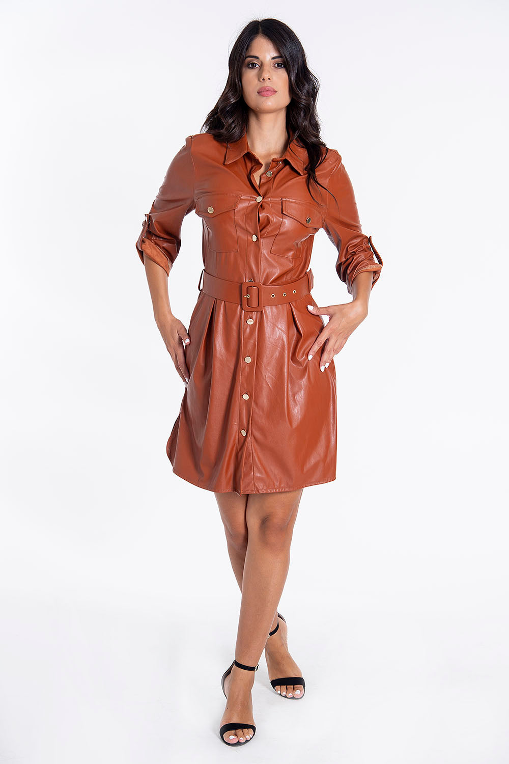 Tensione in leather shirt dress with belt