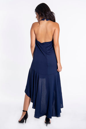 London Look open back halter dress in low high