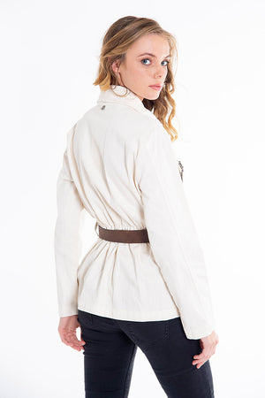 Tensione in structured belted military jacket with embellishments